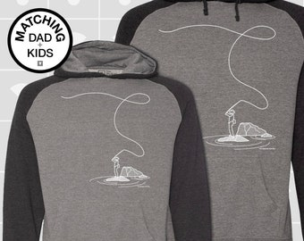 Matching Dad and Me Hoodie - Fly Fishing