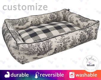 Plaid & Toile Designer Dog Bed | Black, Linen, Buffalo Plaid, High Bolsters on all 4 sides  | Reversible Bed - 2 Looks in 1 | Washable!