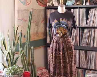 Joseph Magnin skirt . vintage boho tribal print rayon skirt, womens medium
