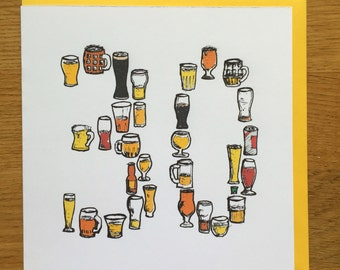 30th beer birthday card men /male drinking card
