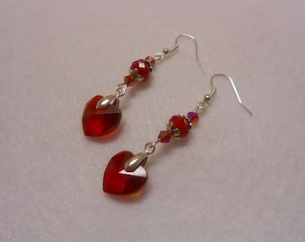 Valentine Earrings, Sweetheart Earrings, Heart Earrings, Red Heart Earrings, Valentine Dangle Earrings