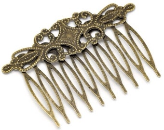 4 pcs Hair Comb,,,Antique Bronze Flower Hair Comb , brass hair comb , antique hair comb, wedding hair comb, perfect for resin cabochon.