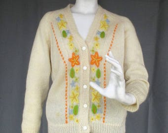 1960s 60s Embroidered Mohair and Wool Cardigan by Marietta Larsen Inc, Cream with Orange and Yellow Flowers, Knitted in Hong Kong, Medium