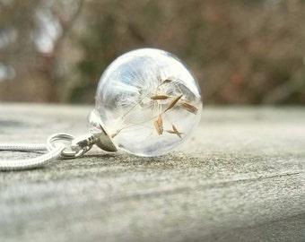 Dandelion Seed Necklace, Dandelion Seeds,  Make a Wish necklace, Wildflower necklace