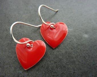 Red Heart Earrings/ Love Dangle Earrings / Sterling Silver Earrings/ Simple Drop Earrings/ Everyday Summer Earrings/ Enamel Drop Earrings