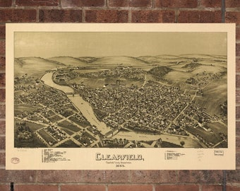 Vintage Clearfield Photo, Clearfield Map, Aerial Clearfield Photo, Old Clearfield Map, Clearfield Art Rend, Clearfield Poster, PA Art