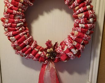 Red and Gold Ribbon Wreath