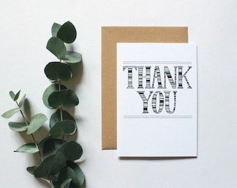 Thank you card - hand lettered thank you card - typography