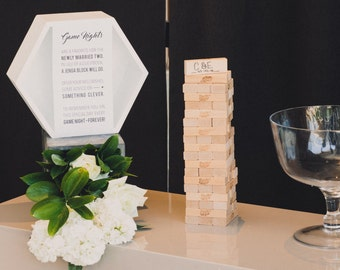 PRINTABLE Modern Wedding Jenga Guest Book Sign 4x6 and 6x10 -  Digital Files Customized Instant download