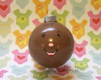 """Baby Ornament Christmas READY TO SHIP 2.25"""" African American New Baby Baby's First Christmas Expecting Glass Bauble Hand Painted Baby Shower"""