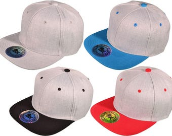 Flat Bill Blank/Plain Snapback Hats - BK Caps with Same Color Underbill