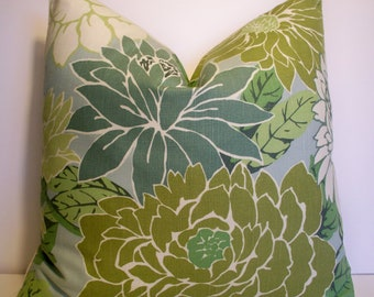 Floral Pillow Cover, French Country Pillow Blue Floral Robert Allen Pillow Cover Basquiat Patina Blue Green Large Floral Pillow 0