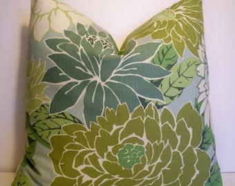 Floral Kissenbezug, Französisch Landkissen blau Floral Robert Allen Kissenbezug Basquiat Patina blau grün große Blumenkissen 0