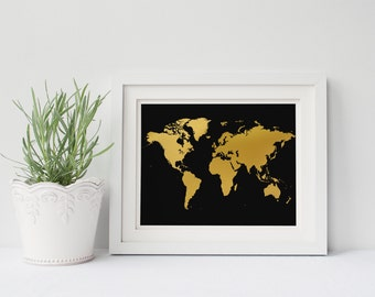 PRINTABLE Art Black and Gold Map Print Travel Print Map Print Gold Foil Print Home Decor Dorm Decor Apartment Decor