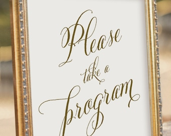Take a Program - Wedding Reception Sign - printable PDF