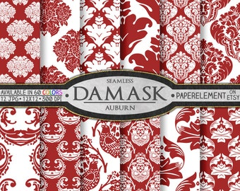 Auburn Red Damask Digital Paper - Crimson Red Damask Paper Backgrounds for Scrapbooking - Printable Digital Backdrop Patterns