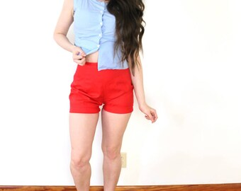 60s Red Shorts / 1950s 1960s Red High Waisted Shorts