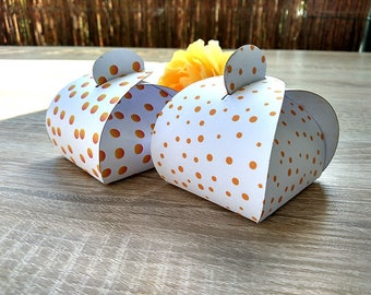 10 boxes in dots, favors boxes, Party Boxes, Gold Foil Polka, Dot Party Box, White and Gold Party Box, Polka Dot, Party Box, 10 Per Pack