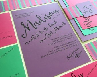 Bat Mitzvah Invitation Set, Pink, Purple, Blue, RSVP, Party Info Card, Bellyband and Tag, Addressed Envelopes, Bar Mitzvah Invite, B'nos