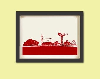 Glasgow City Skyline in red Fine Art Print Modern Decor Wall Art City Home Decor
