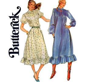 Butterick 6974 Womens Ruffled Puff Sleeve Shirtdress 80s Vintage Sewing Pattern Size 12 Bust 34 inches UNCUT Factory Folded