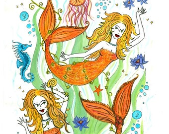 Magical Pisces Mermaids print 11x 17