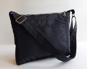 Sale - Black Water Resistant Nylon Bag - Cross body bag, Shoulder bag, Diaper bag, Purse, Messenger bag, Tote, Women - AMANDA