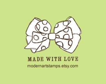 Custom Rubber Stamp   Custom Stamp   Personalized Stamp   Handmade with Love Stamp   Made by Stamp   Bow Stamp   Bow   C542