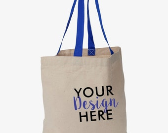 Custom 10 oz. Canvas Tote with colored handles - Canvas tote bag - Custom design -  Promotional bags - Custom wedding totes - Tote Bags