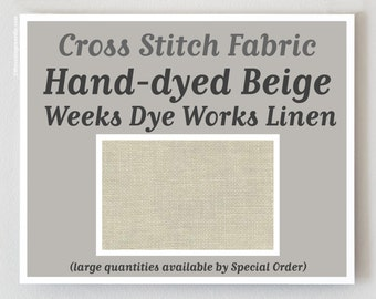 BEIGE 32 ct. hand-dyed cross stitch fabric linen count Weeks Dye Works WDW Belfast hand embroidery