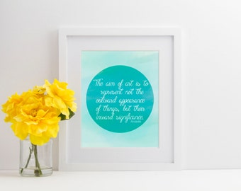 The Aim of Art - Aristotle Quote - Blue Watercolor