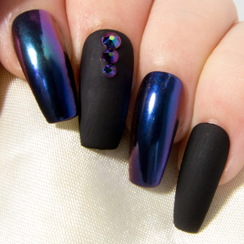 Modern Chrome Nails Black Adornment - Nail Art Ideas - morihati.com