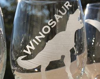 Individual Winosaur Wine Glass // T-Rex Wine Glass // Stegosaurus Wine Glass // Wino Saur Wine Glass // Wino Gift // Wine Lover Gift