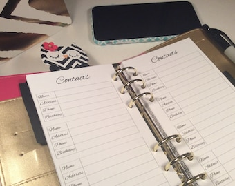 Personal Size Printed Addresses Contacts Planner Inserts