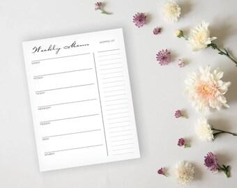 Simple Elegant Black Printable Menu Planner and Grocery List - Daily Menu Planner Sheet, Meal Planning, Dinner Planning - Instant Sownload