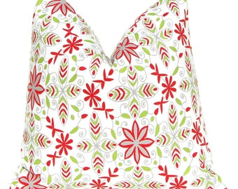 Christmas Pillow Covers, Red and Green Floral, Holiday Pillows, Accent Pillows 18 x 18, Holiday Decor, Nala Floral in Red and Green on White