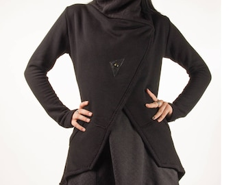 Shadow, knit jacket with cowl neckline and asymmetrical hem by Plastik Wrap.
