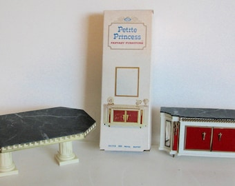1970s Toy Petite Princess Dollhouse Lot of 3 Table and Two Buffets Toy Furniture