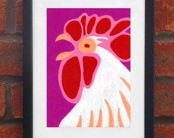 Chicken - A5 original oil pastel drawing (Framed)