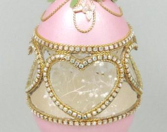 Pink Swarovski Jeweled Hearts, Pink Hearts and Roses, Wedding Cake Topper, Wedding Keepsake, Wedding Decor, Faberge Decorated Egg