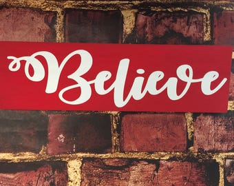 Farmhouse | Christmas | Wooden Sign | Wood Signs | Faith | Christian | Gifts | Family | Wedding | Blessed | Thankful  | Gather | Believe