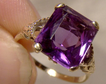 10K Synthetic Alexandrite Ring 1930s 10 K Size 5-1/2 Emerald Cut