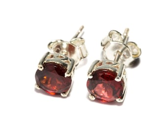 Garnet Gemstone Sterling Silver Stud Earrings Simple Jewellery Dainty Jewellery  Free UK Delivery Gift Boxed