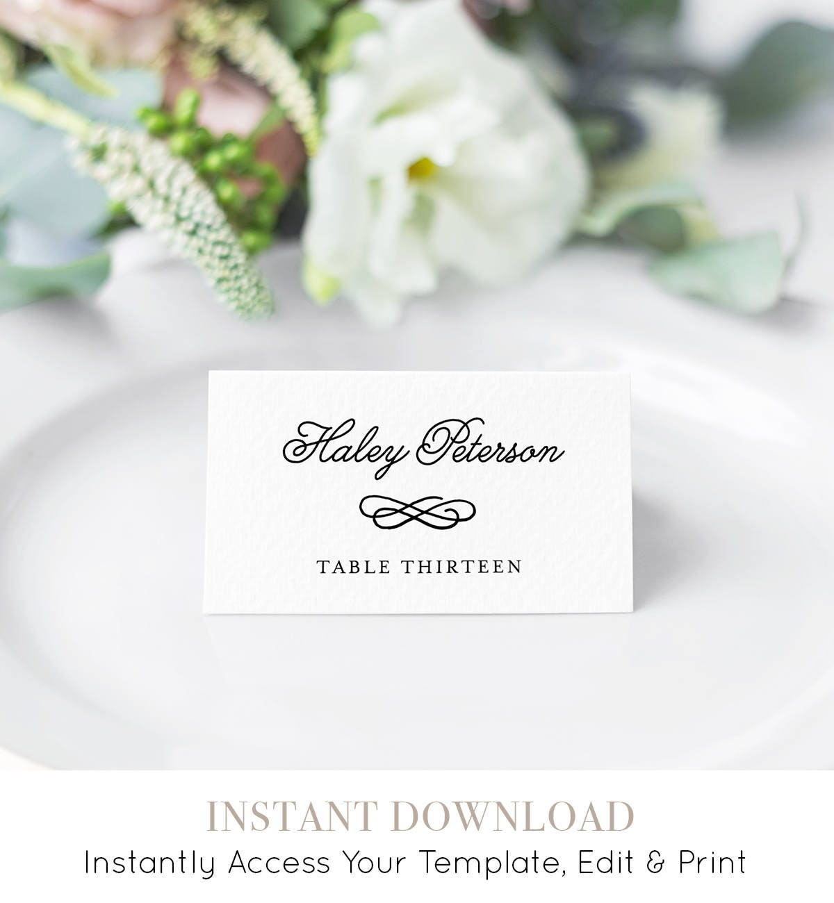 Wedding Place Card Template Printable Escort Card Name Card - Placement card template