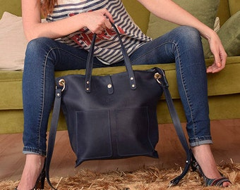 "Navy Blue laptop bag, Leather Macbook case, Dark Blue Leather bag, Laptop bag leather, Womens laptop bag, Leather laptop bag women, 15"" bag"