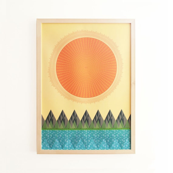 Mid-century print. 2013 Calendar typographic poster. The Sun, It Shines.