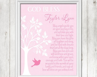 BAPTISM Gift, PINK Christening Gift, Personalized Baby Gift, Dedication Gift, Gift for Goddaughter, Bird Wall Art, CANVAS or Prints