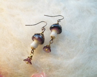 Mushroom Earrings Purple Fairy Magic Mushroom Enchanting Woodland Toadstool Beaded Earrings Handmade Beaded Earrings Tiny Glass Bead Charm