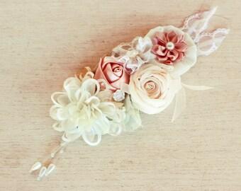 Bridesmaids corsage, Blush ivory wrist corsage, wrist corsage, prom corsage