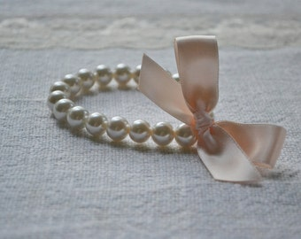 Ella - Little Girls or Adult Pearl Bracelets with Ribbon Bows - Ivory pearls, blush / nude ribbon